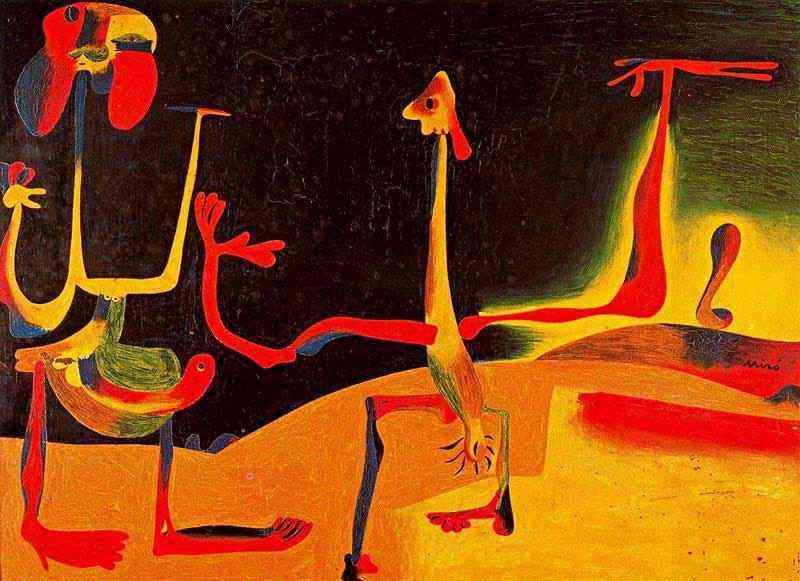 Joan Miró - Homem e mulher diante de uma pilha de excremento