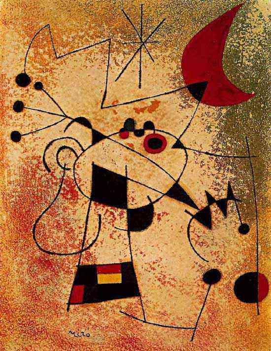 Joan Miró - O pássaro relâmpago cegado pelo fogo da lua