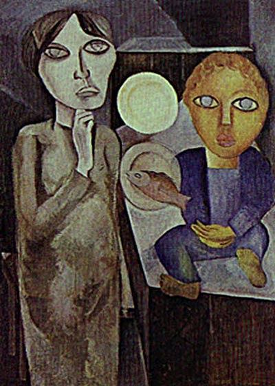 Lasar Segall - Viúva e filho II