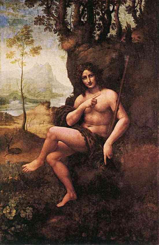"""Leonardo da Vinci - São João no deserto (conhecido também como """"Bacchus"""")"""