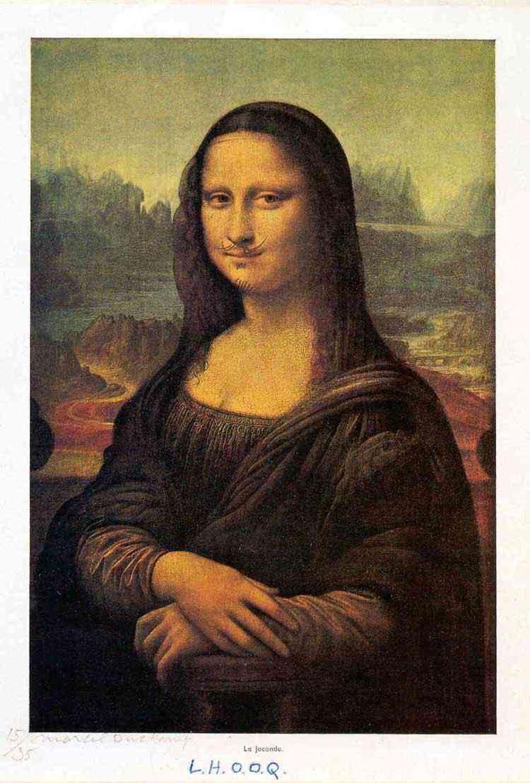 Marcel Duchamp - Reprodução da Mona Lisa, com bigodes e cavanhaque