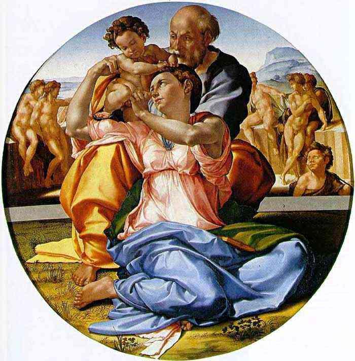 """Michelangelo di Ludovico Buonarroti Simoni - A Sagrada Família com São João menino (também conhecido como """"Doni tondo"""")"""