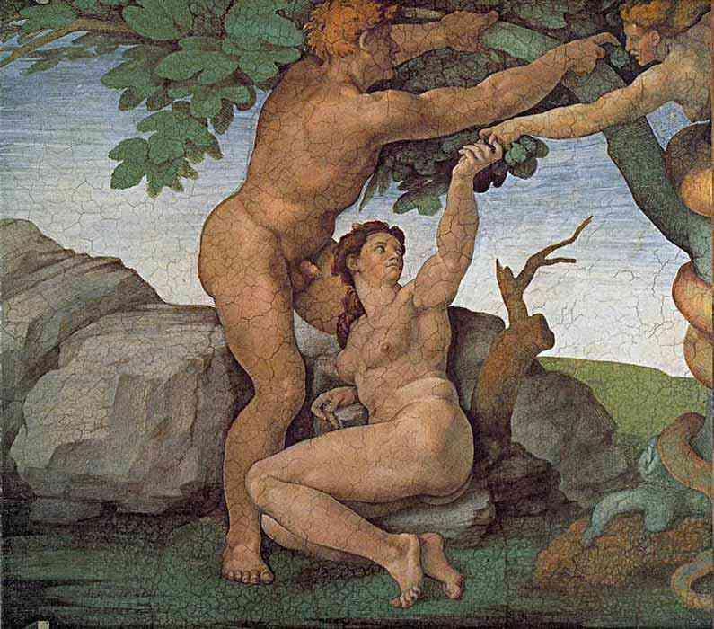 Michelangelo di Ludovico Buonarroti Simoni - Teto da Capela Sistina: A queda e expulsão do paraíso - O pecado original