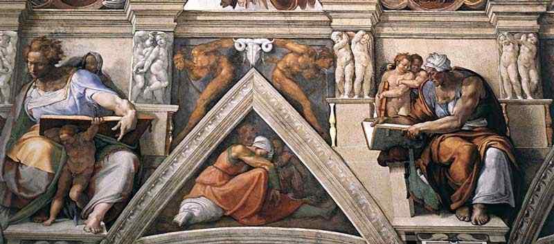 Michelangelo di Ludovico Buonarroti Simoni - Teto da Capela Sistina (detalhe 1)