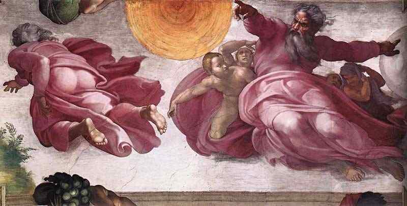 Michelangelo di Ludovico Buonarroti Simoni - Criação do Sol, Lua e Vegetação