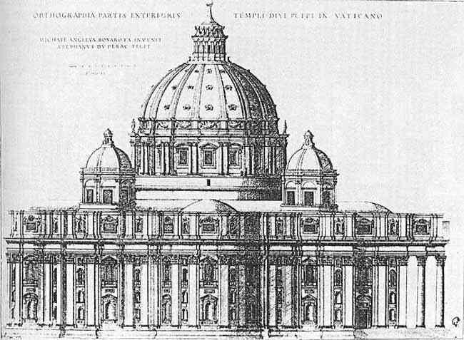 Michelangelo di Ludovico Buonarroti Simoni - Arquitetura - Projeto para Basílica de São Pedro, em Roma