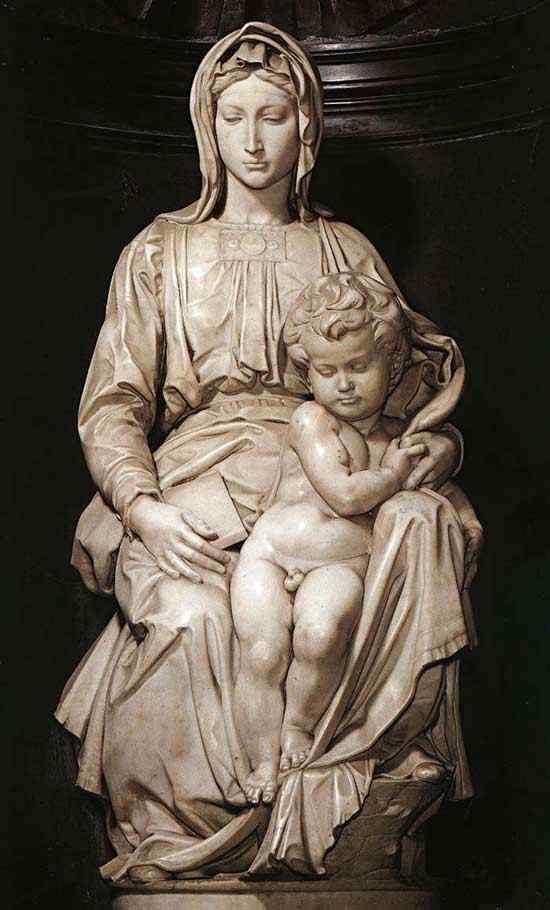 Michelangelo di Ludovico Buonarroti Simoni - Madona e criança (escultura)