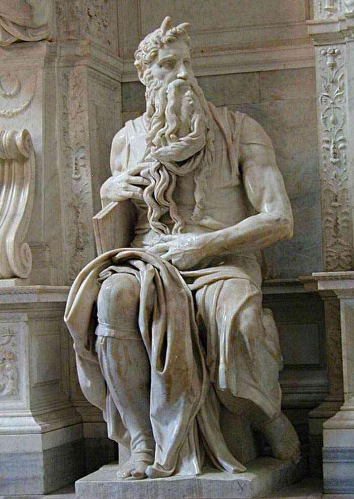 Michelangelo di Ludovico Buonarroti Simoni - Túmulo do Papa Júlio II: Moisés (escultura - detalhe)