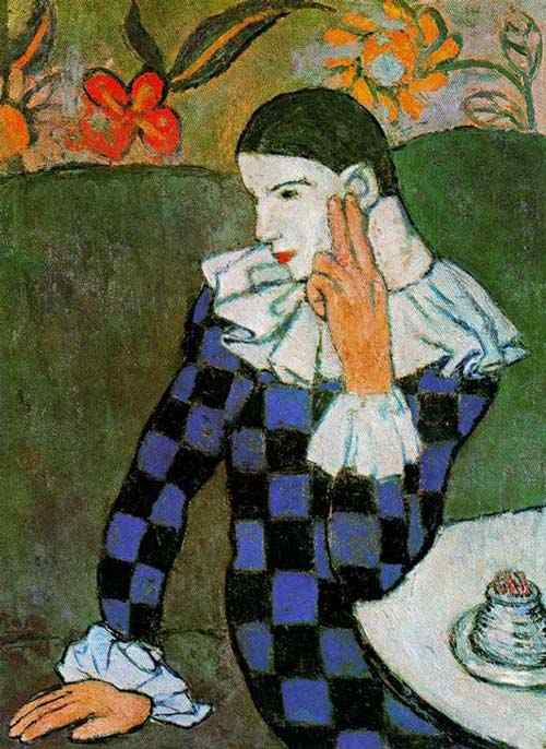 Pablo Ruiz Picasso - Arlequim pensativo