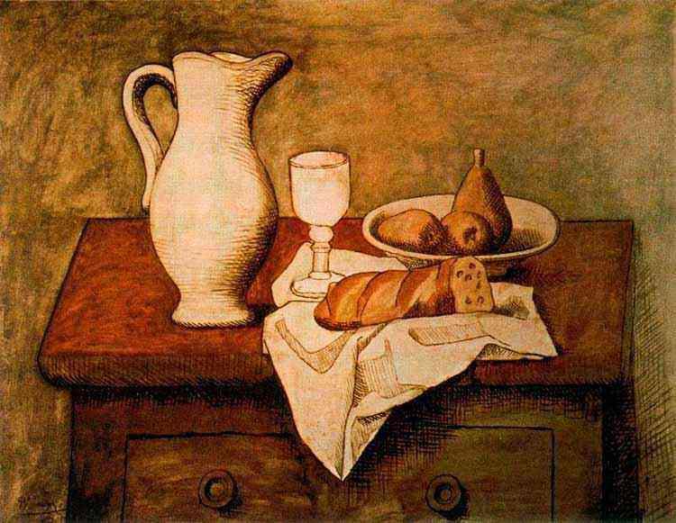 Pablo Ruiz Picasso - Natureza morta com jarro e pão