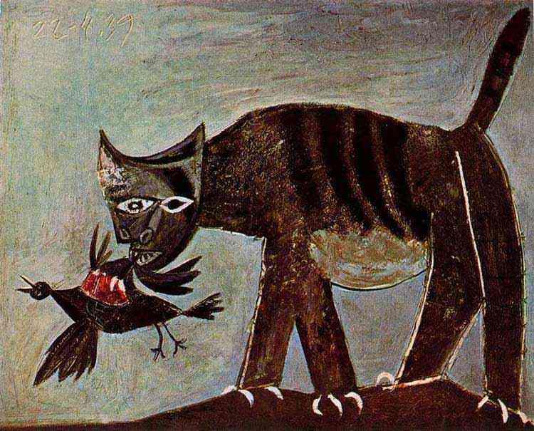 Pablo Ruiz Picasso - Gato pegando um pássaro