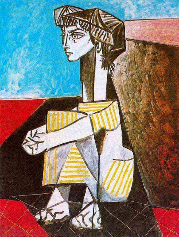Pablo Ruiz Picasso - Retrato de Jacqueline Roque com as mãos cruzadas