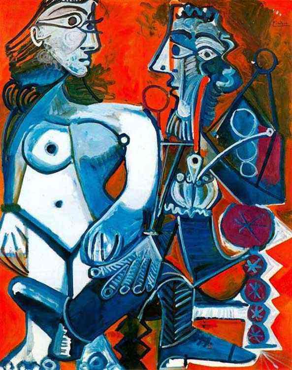 Pablo Ruiz Picasso - Mulher nua em pé e homem sentado com cachimbo