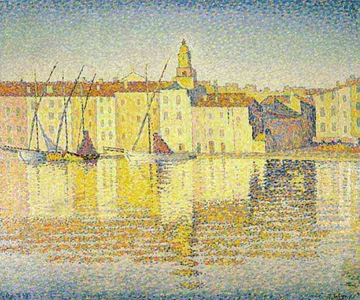 Paul Signac - Casas no porto, Saint-Tropez
