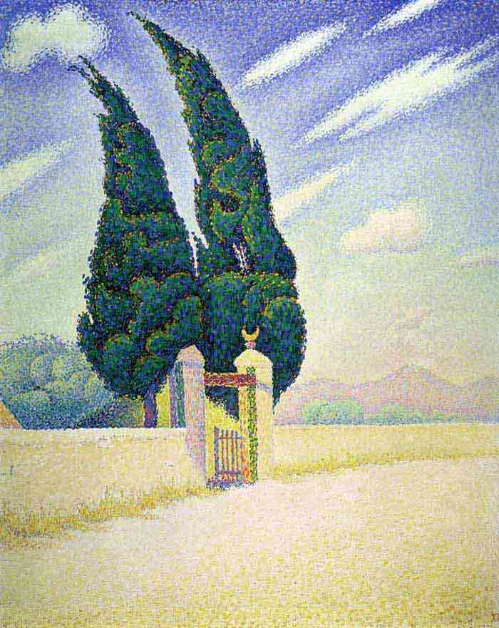 Paul Signac - Dois ciprestes, Mistral