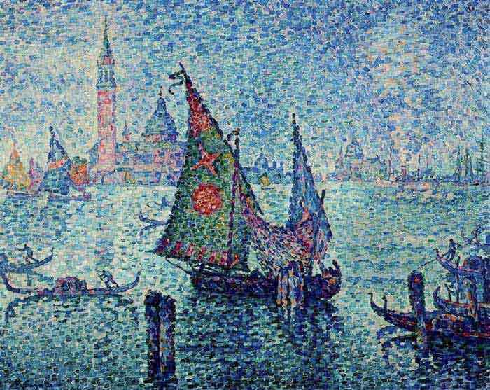 Paul Signac - A gôndola azul, Veneza