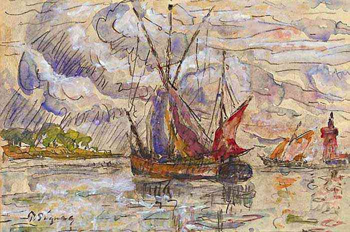 Paul Signac - Barco de pesca em La Rochelle
