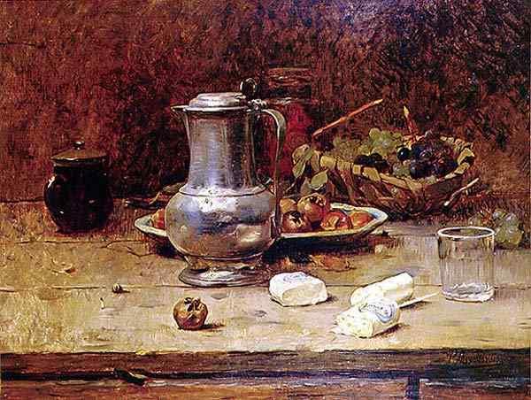 Pedro Alexandrino - Natureza morta com vasos e frutas