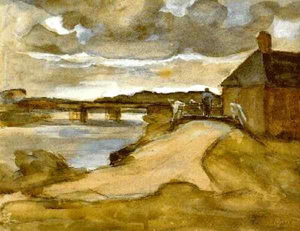 Piet (Pieter Cornelis Mondrian) Mondrian - Paisagem com ponte e granja