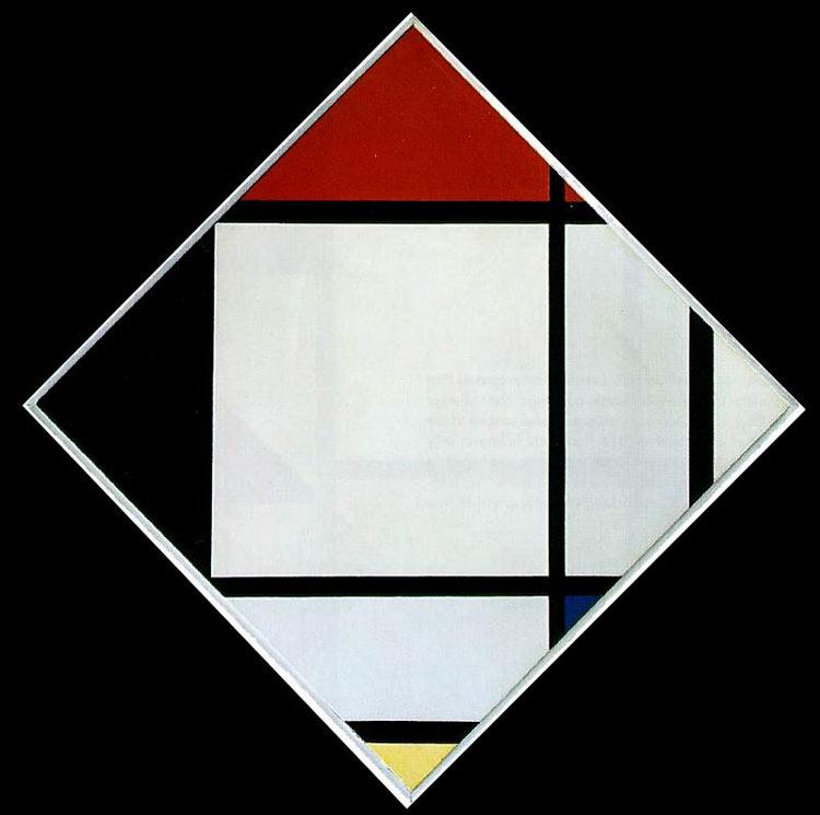Piet (Pieter Cornelis Mondrian) Mondrian - Losango - Composição em vermelho, preto, azul e amarelo