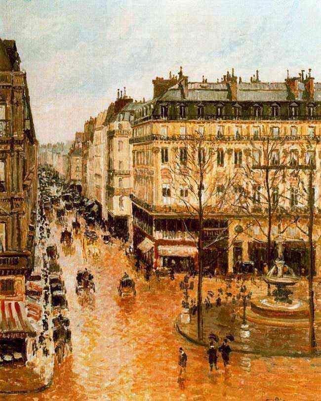 Camille Pissarro - A rua de Saint-Honoré apó o meio-dia. Efeito da chuva