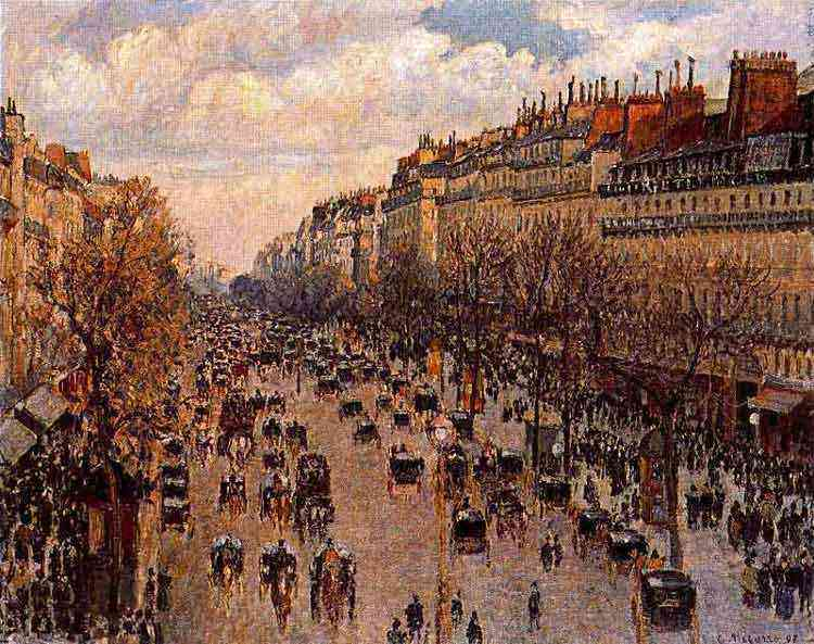Camille Pissarro - Boulevard Montmartre ao entardecer
