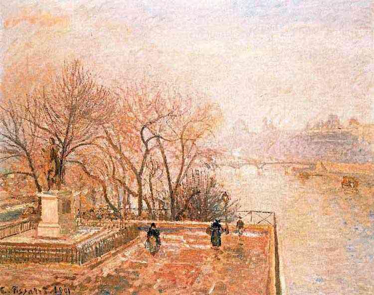 Camille Pissarro - O Louvre, manhã com névoa