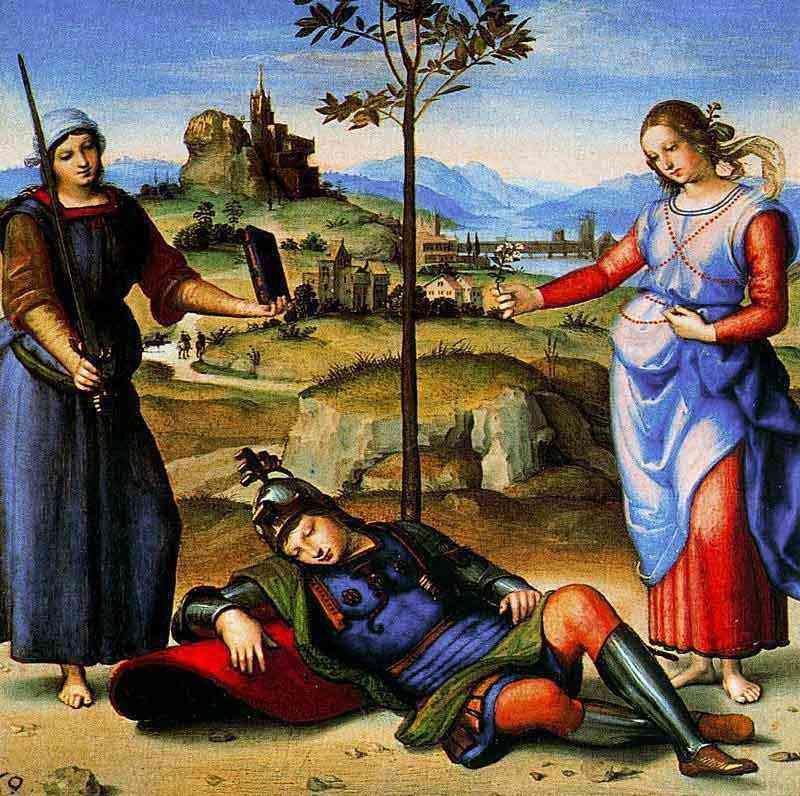 Raffaelo Sanzio Raphael - O sonho do cavaleiro