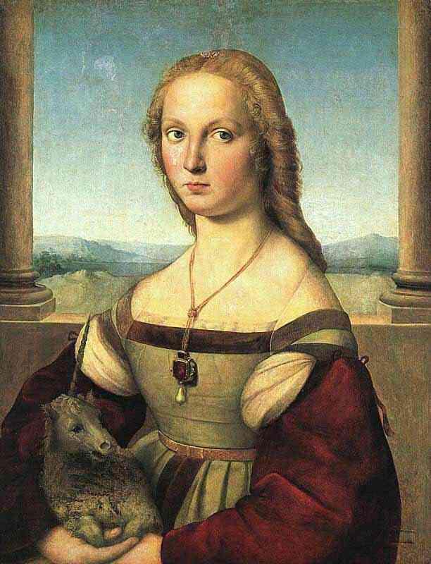 Raffaelo Sanzio Raphael - Retrato da dama com unicórnio