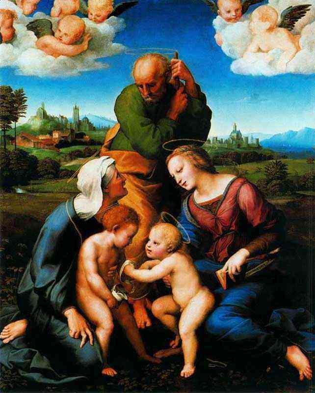 """Raffaelo Sanzio Raphael - Sagrada Família Canigiani (também conhecida como """"Virgem com o menino, São José, Santa Isabel e São João"""")"""