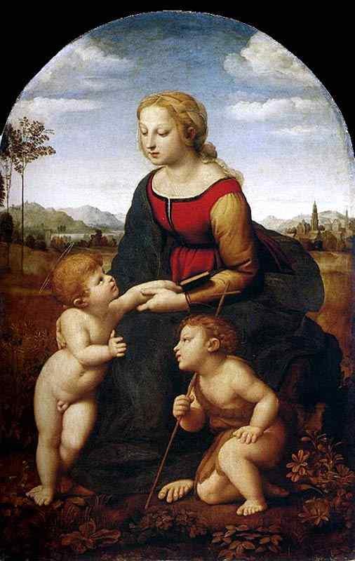 """Raffaelo Sanzio Raphael - A bela jardineira ( também conhecido como """"Virgem com o menino e São João"""""""