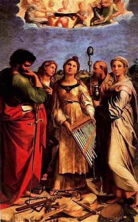 Raffaelo Sanzio Raphael - Santa Cecília e os santos