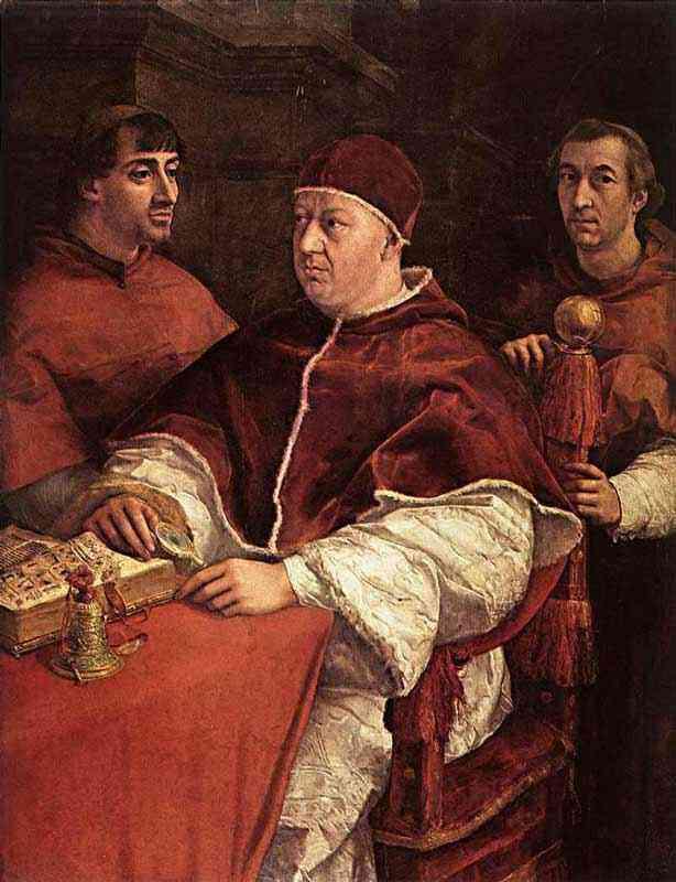 Raffaelo Sanzio Raphael - Papa Leão X com cardeais Giulio de Medici e Luigi de Rossi