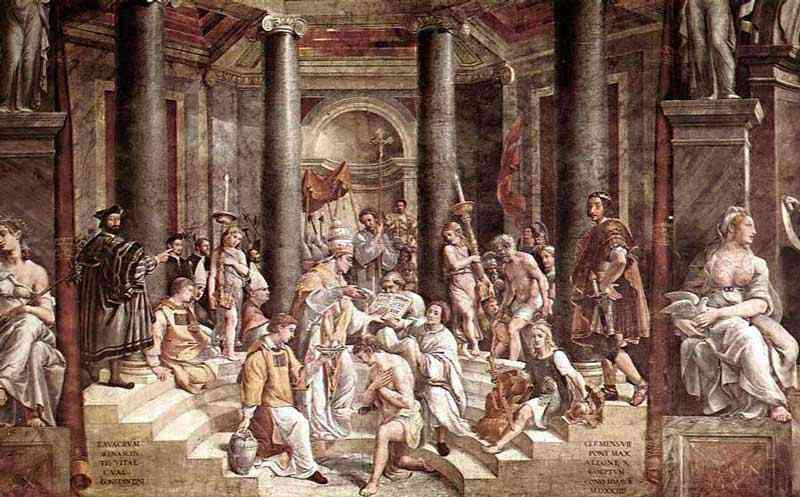 Raffaelo Sanzio Raphael - O batismo de Constantino