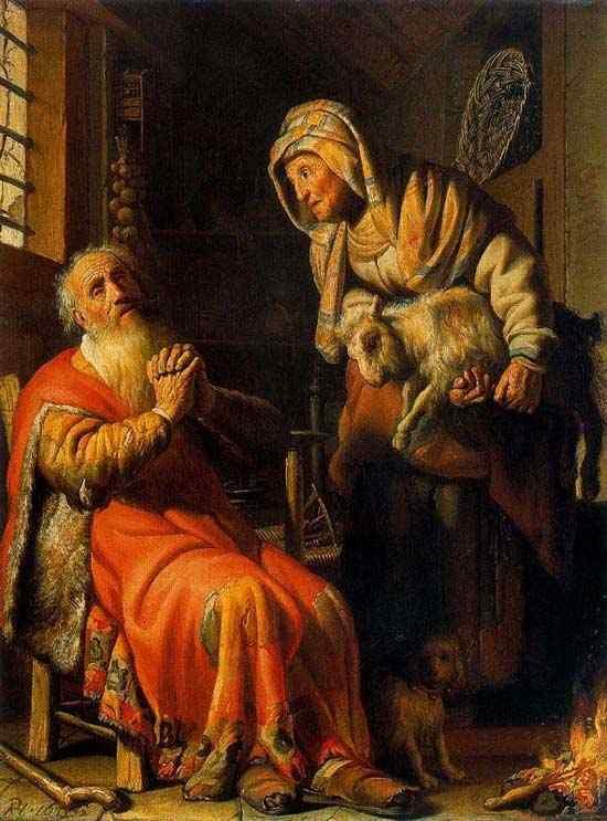 Harmensz van Rijn Rembrandt - Tobias acusando Ana do roubo de um cabrito