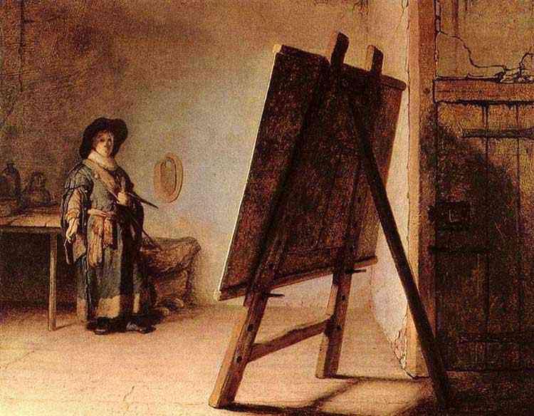 Harmensz van Rijn Rembrandt - Um artista em seu estúdio