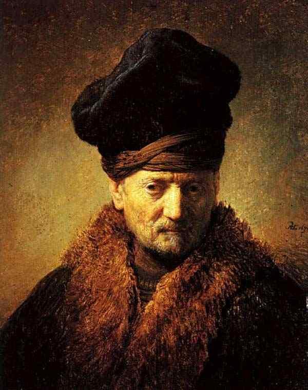 Harmensz van Rijn Rembrandt - Busto de homem com gorro
