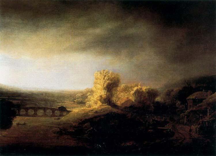 Harmensz van Rijn Rembrandt - Paisagem com a longa ponte arcada