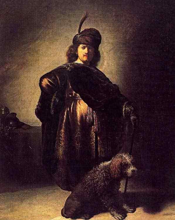 Harmensz van Rijn Rembrandt - Auto-retrato vestido de oriental com cachorro
