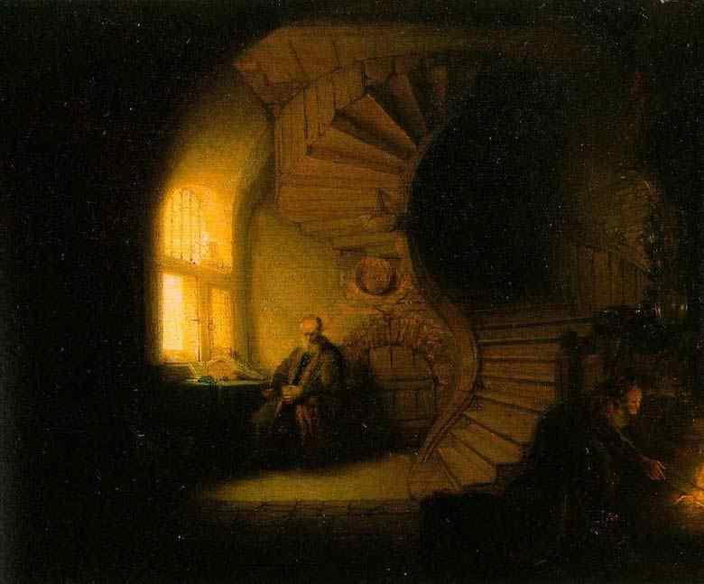 Harmensz van Rijn Rembrandt - Filósofo meditando