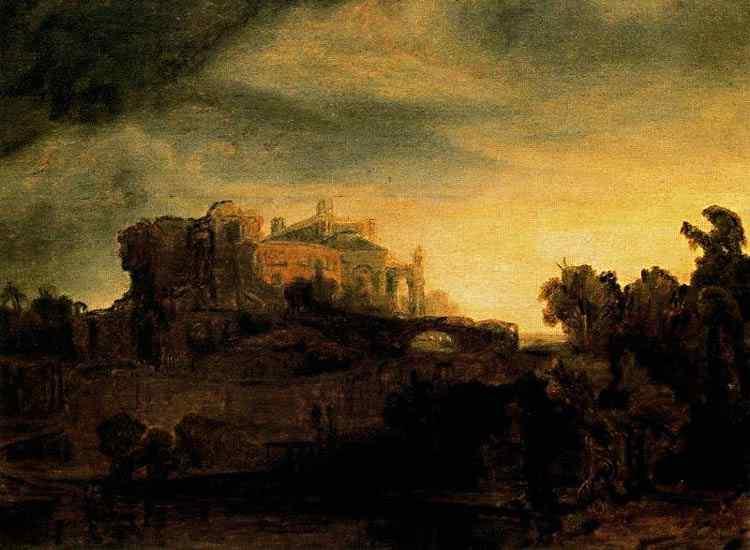 Harmensz van Rijn Rembrandt - Paisagem com um castelo
