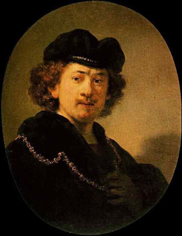 Harmensz van Rijn Rembrandt - Auto-retrato com corrente de ouro