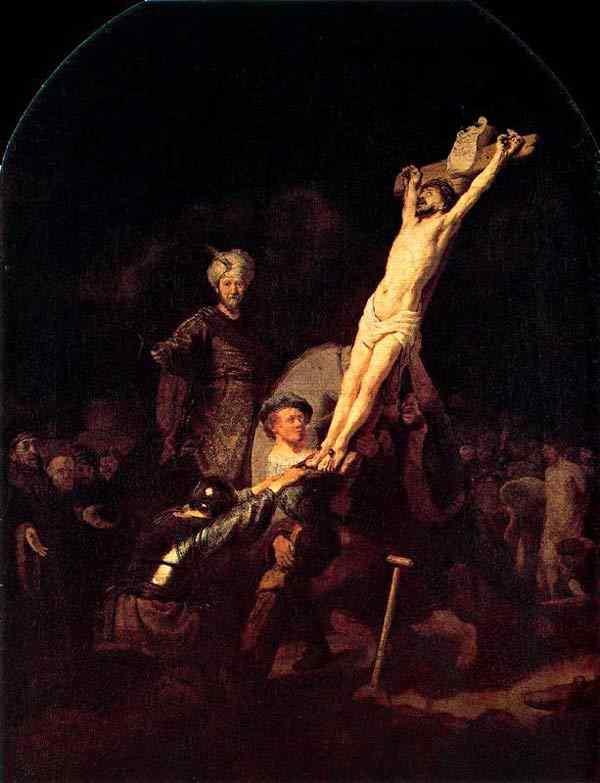 Harmensz van Rijn Rembrandt - Erguendo a cruz