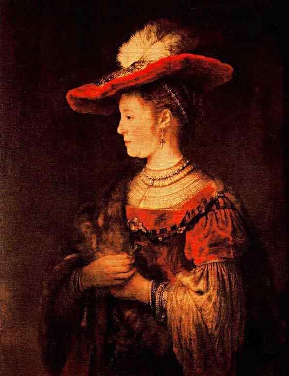 Harmensz van Rijn Rembrandt - Retrato de Saskia com chapéu