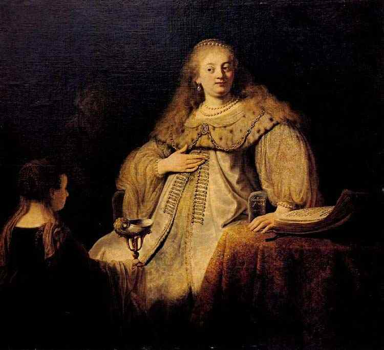 "Harmensz van Rijn Rembrandt - Artemisa recebe as cinzas de Mausolo (também conhecido como ""Sofoniba recebe a taça envenenada"")"