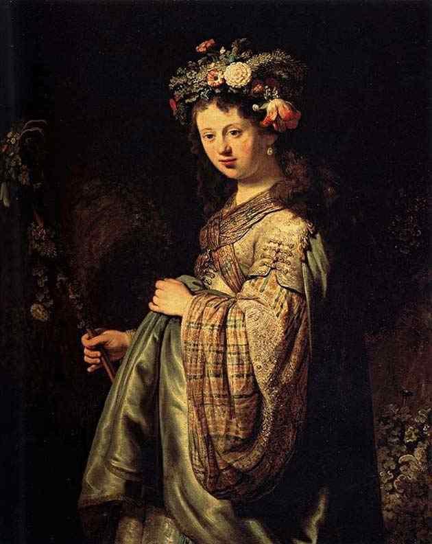 Harmensz van Rijn Rembrandt - Saskia enfeitada de flores