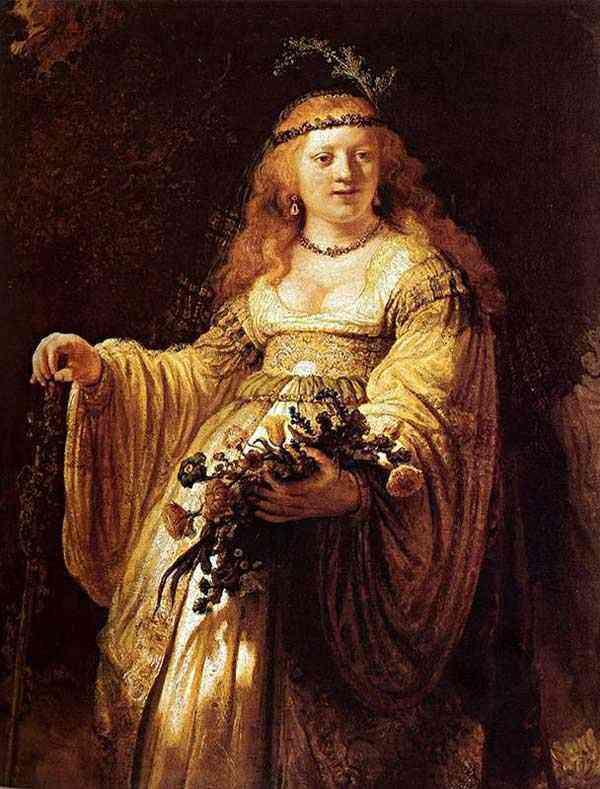 """Harmensz van Rijn Rembrandt - Retrato de Saskia em trajes árcades (também conhecido como """"Saskia em traje de feas"""")"""