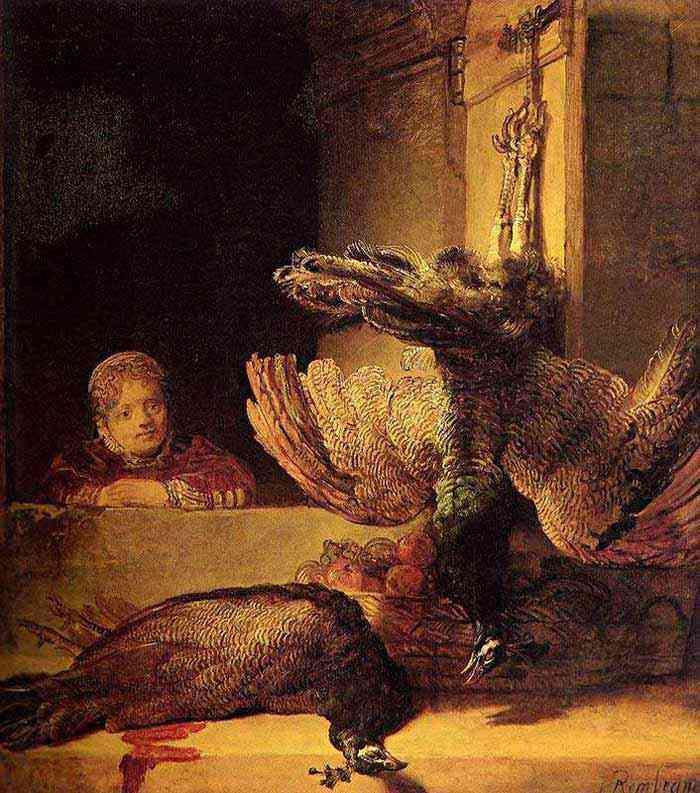 Harmensz van Rijn Rembrandt - Menina e pavões mortos