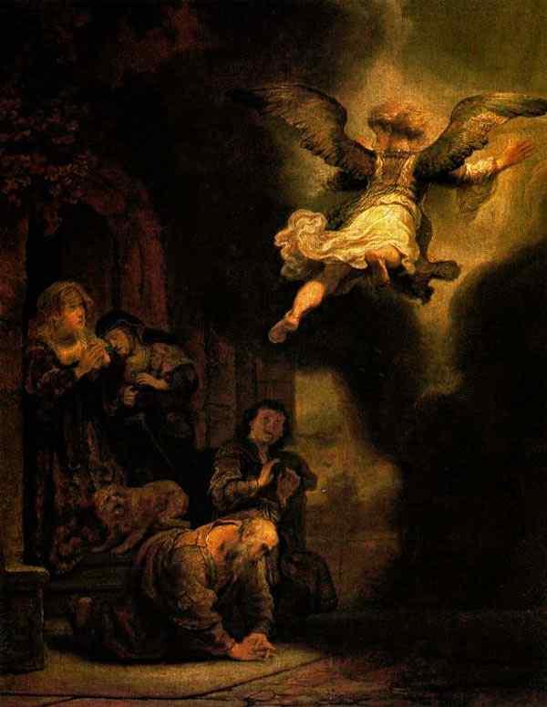 Harmensz van Rijn Rembrandt - O arcanjo deixando a família de Tobias