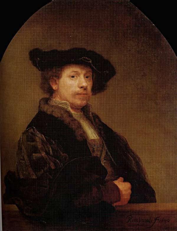 Harmensz van Rijn Rembrandt - Auto-retrato com camisa bordada